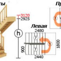 Лестница из сосны К-004м