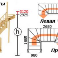 Лестница из сосны К-009м