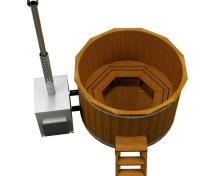Купель Fispars из термодревесины c наружной печкой (1,6 м)