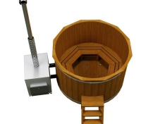 Купель Fispars из термодревесины c наружной печкой (1,8 м)